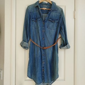 Denim Chambray Collar Shirt Dress With Belt